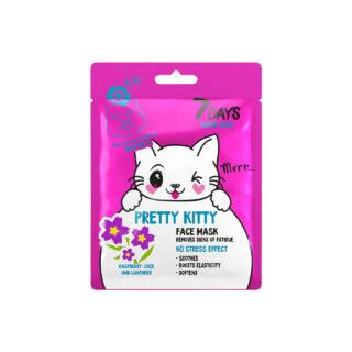 """Näohooldus Kangas mask näole """"7days Pretty Kitty"""", vaarikamahlaga"""
